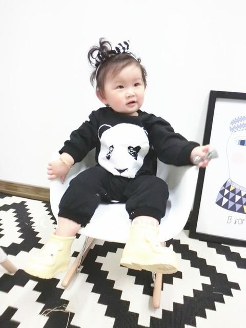 Autumn Spring Baby Boy/Girl rompers fashion cotton black long sleeve panda pattern