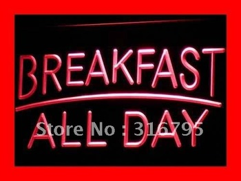 i311-r BREAKFAST ALL DAY OPEN Cafe Bar LED Neon Light Sign