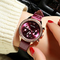 Ladies quartz watch Rose gold digital dial with leather strap womens watches living waterproof fashion women