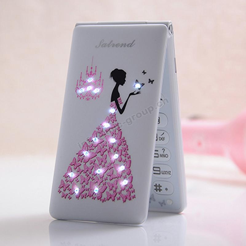 2015 Flip Russian,French,Spanish,Portuguese,Arabic Dual SIM card women girls lady cute LED flashlight cell mobile phone P045(China (Mainland))