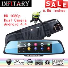 7 De Voiture DVR 6.86 «écran Tactile navigateur 1 GB 16 GB Android GPS Navigation Miroir De Voiture DVR double lentille caméra arrière parking WiFi FM