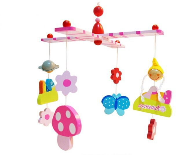 Prince and Princess Wooden Crib Bed Hanging Baby Kids Mobiles Toy(China (Mainland))
