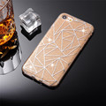 Bling Glitter Powder Grid Pattern Case For iPhone 7 7 Plus Soft TPU Gel Hard PC