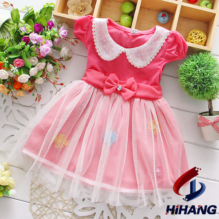 baby girls dress fashion summer baby dress Lovely lace bowknot princess net yarn flowers cotton dress girls clothes HST1024(China (Mainland))