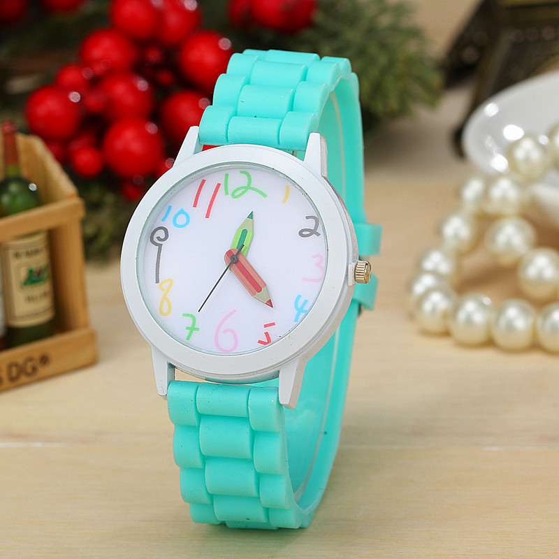 Гаджет  lowest price Geneva Fashion Pure Silicone  Band Pencil pointer Quartz watches for Women Dress Watch Gift Casual jelly watch None Часы