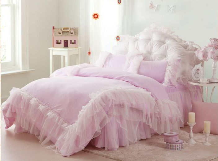 Lace princess bed skirt 4pcs twin size bedding sets queen size bedr set bedspread in bedding - Twin size princess bed set ...