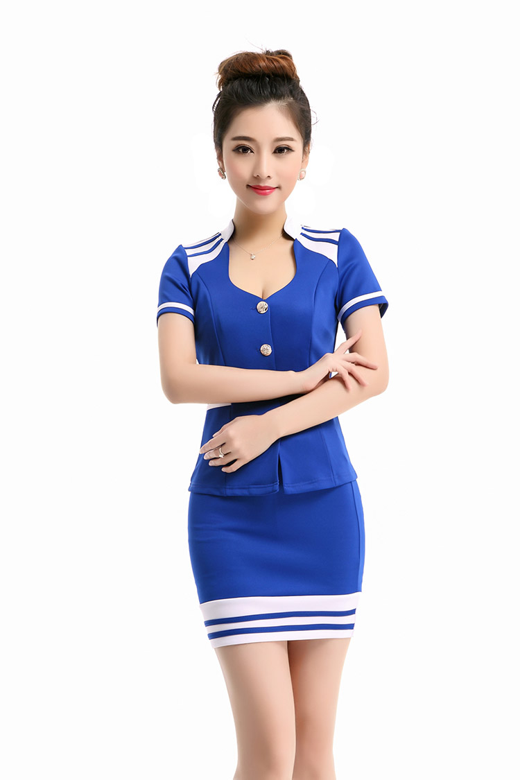 Free Shipping 2015 Summer Style Airline Hostess  Sexy  Workwear Costumes five size hot sales