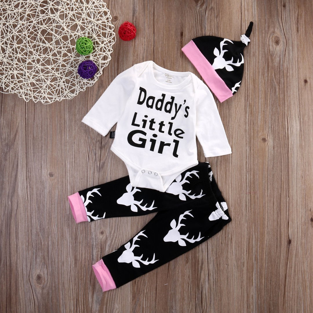 2017 Autumn New baby clothing set Baby Girls Long Sleeve Tops Romper +Long Pants Hat 2pcs newborn baby boy clothes set