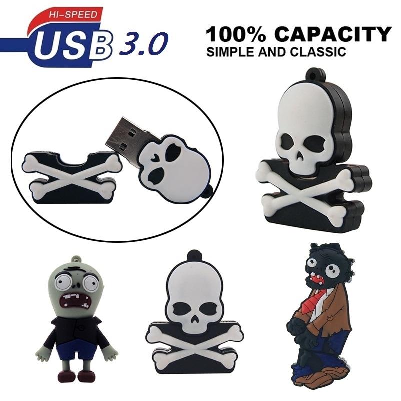 HOT 3 Styles Cartoon USB Plants VS Zombies Skull Head USB Flash Drive 3.0 Full Capacity 8GB 16GB 32GB 64GB Pen Drive Gift USB(China (Mainland))