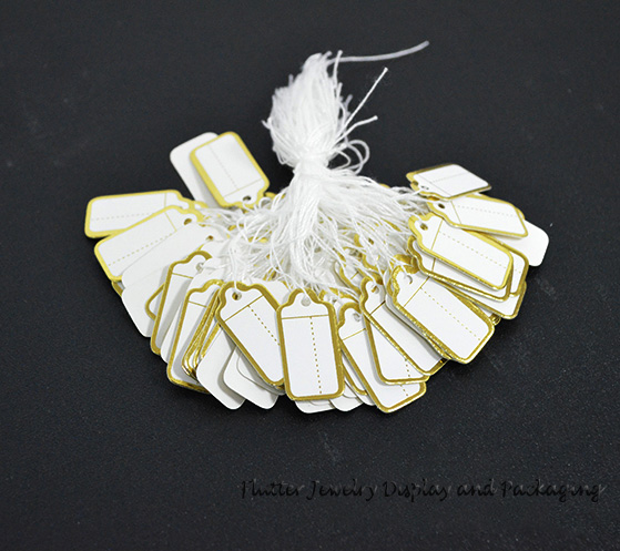 Hot Sale 100pcs/lot One String Gold Strung Price Tags Retail Border Clothing Jewelry Gift Paper Lables Store Accessories(China (Mainland))