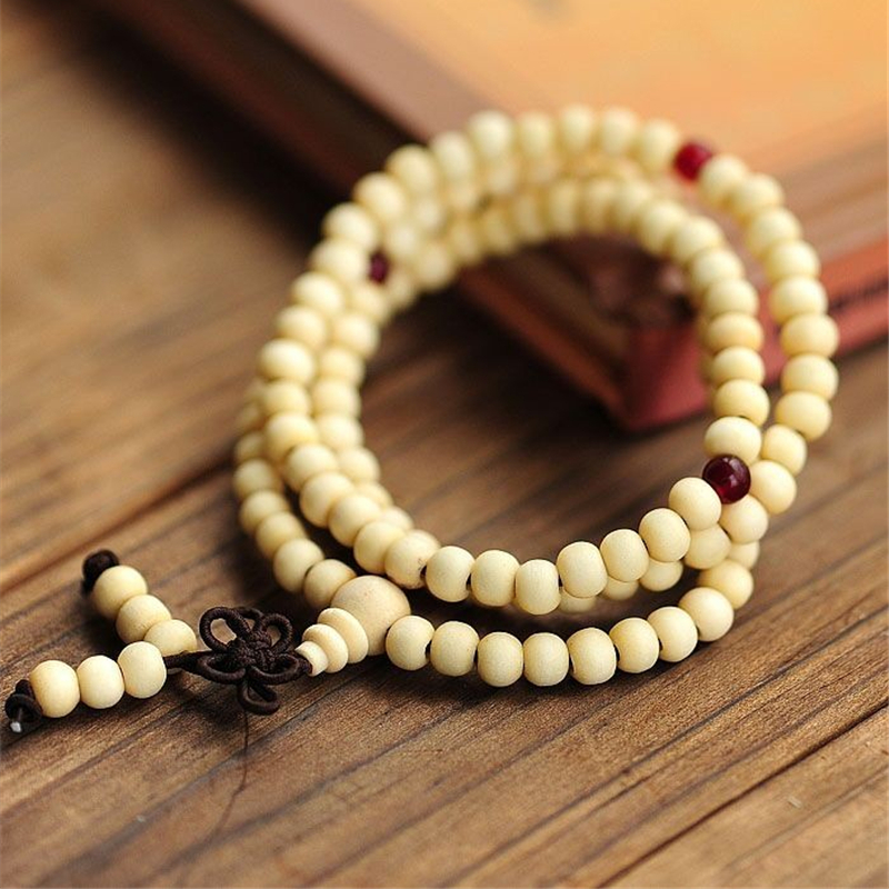 Fashion Unisex Vintage White Sandalwood Garnet Spacer White Sandalwood Buddhism Prayer Bracelet(China (Mainland))