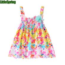 Mudkingdom 2016 new summer style baby dress flower strap sun dress children girl clothing kids one-pieces dress(China (Mainland))