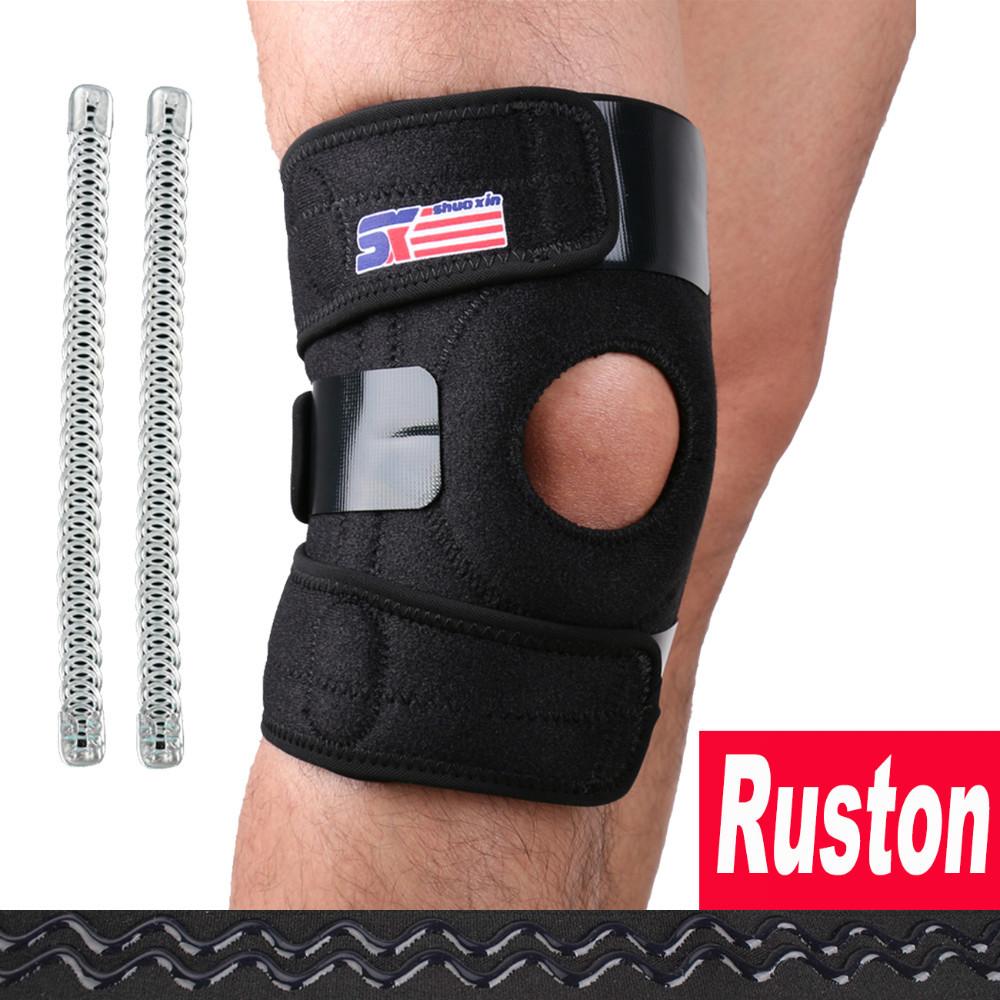 Free Shipping Sports Knee Pads Kneepad Knee Support Brace Wrap Protector Knee Sleeve Patella Guard Adjustable2 Spring Knee Black(China (Mainland))