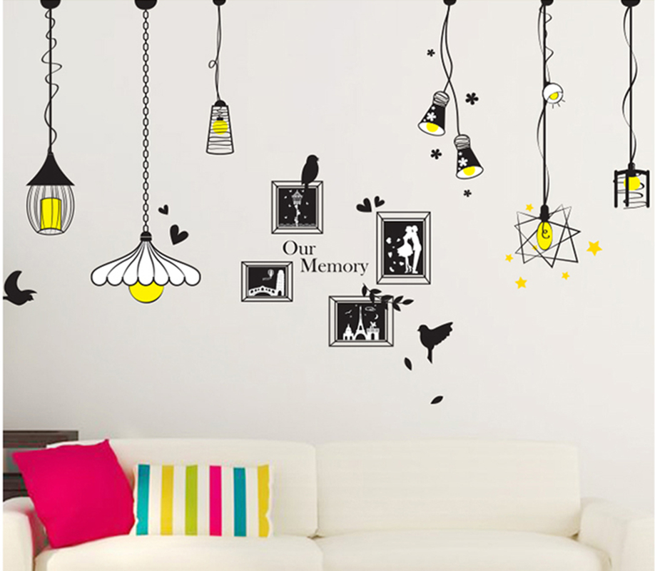 Lamp and frame diy wall stickers dinning room wall decal for Home decor 90 off
