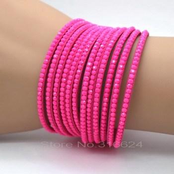 Популярные роуз цвет 12 слой 2 кругов женщин кожаный браслет шарм изготовления продавая ...