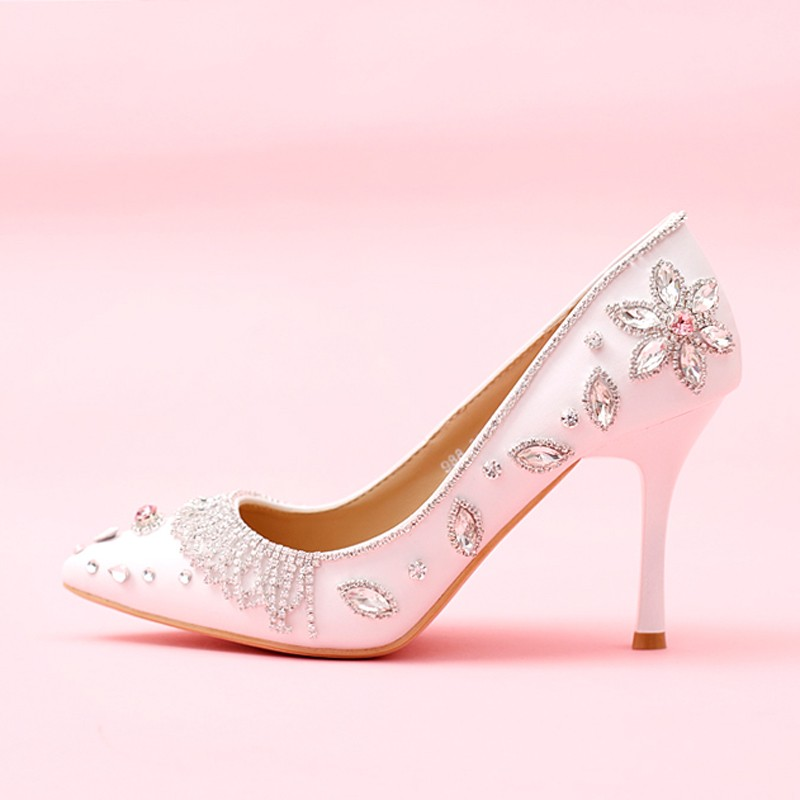 2016 White Pointed Toe Wedding Shoes High Heels Genuine Leather Bride Pumps Women Silver Rhinestone Bridal Party Prom Shoes
