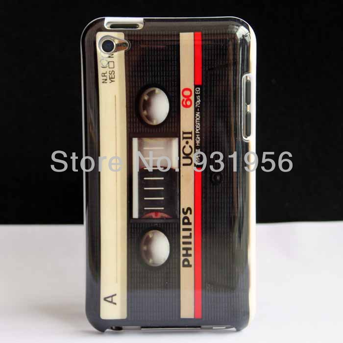 Old Magnetic Cassette Tape Design HARD SKIN CASE COVER FOR IPOD TOUCH 4 4th 4G + Free Screen Protector(China (Mainland))
