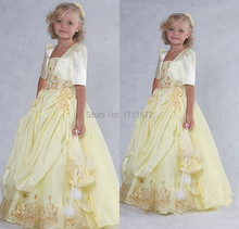 New 2015 Pageant Party Girls Dress Appliques Comunion Vestido De Daminha With Jacket Flower Girl Dresses for Weddings Plus Size(China (Mainland))