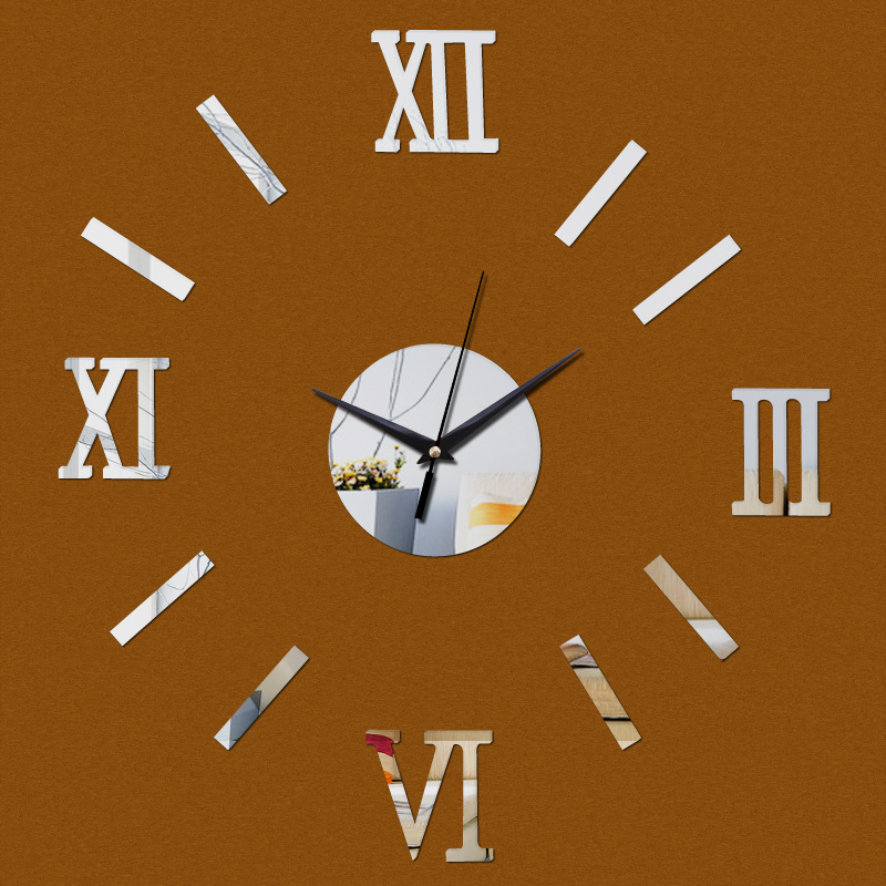 new sale diy wall clock clocks home decor living room Furniture Sticker acrylic mirror stickers modern free shipping(China (Mainland))