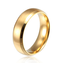 Minorder 10 Never fading 18k simple Classic Wedding rings yellow Gold filled Titanium steel rings for
