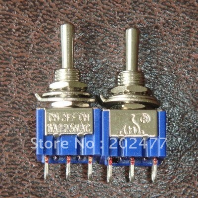 200pc/lot 3 Pins SPDT ON/OFF/ON Toggle Switches AC 125V 6A,RoHS