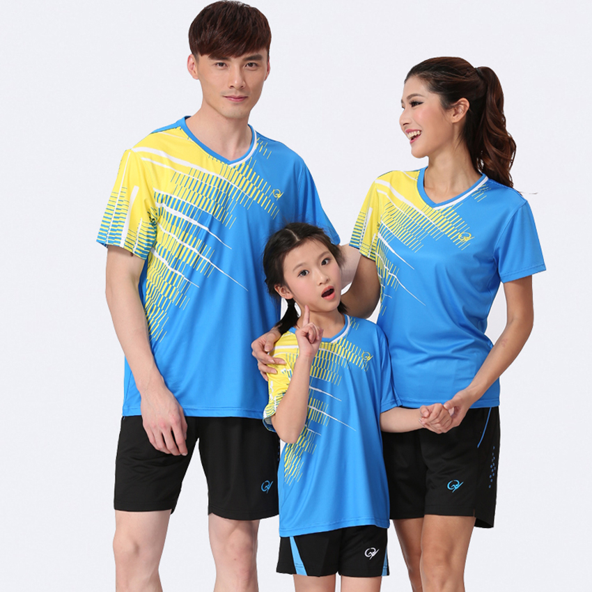 2016 New Sports Series Wicking Breathable Clothing Men's Badminton Table Tennis Suit Men and woman Tennis Shirts With Shorts(China (Mainland))