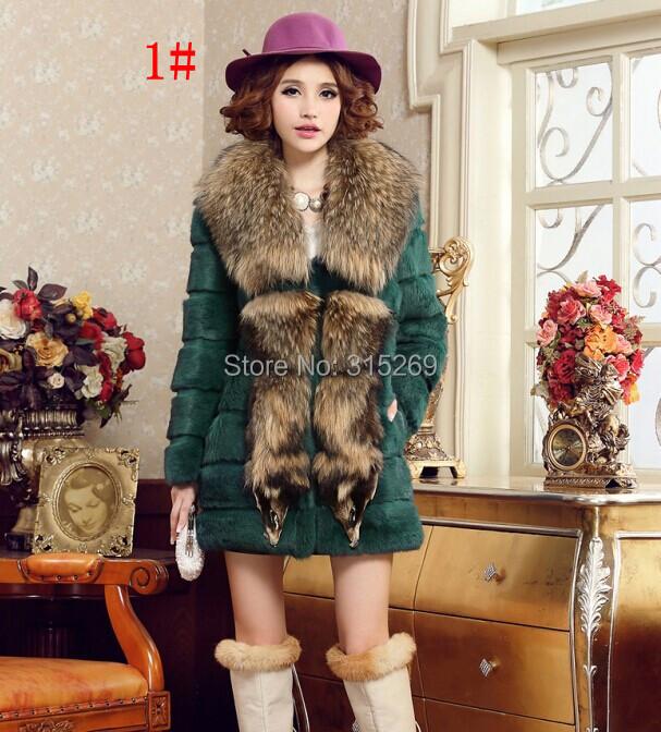 Selling luxurious winter fashion trim rabbit Fur coat big raccoon dog fur collar - sandy shop store