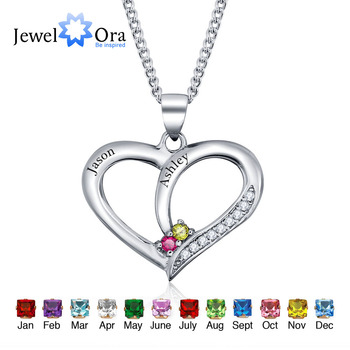 Personalized Engrave Pendants Necklaces Birthstone Classic Heart 925 Sterling Silver Necklaces & Pendants (JewelOra NE101234)