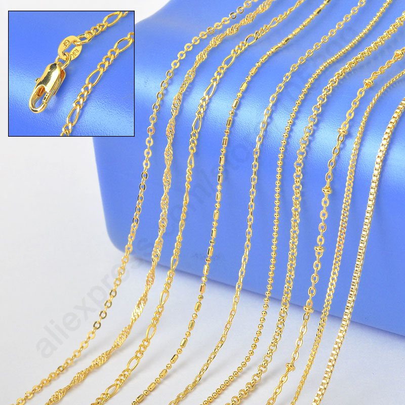 "2015 Sample Order 18"" Mix 10 Kinds 18K Solid Yellow Gold Filled Venice Figaro Rolo Curb Necklace Chains 18K-GF Stamped 1.2-2MM(China (Mainland))"