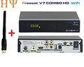 Genuine Freesat V7 Combo 1PC WiFi satellite receiver DVB S2 DVB T2 PowerVu Biss Key PowerVu