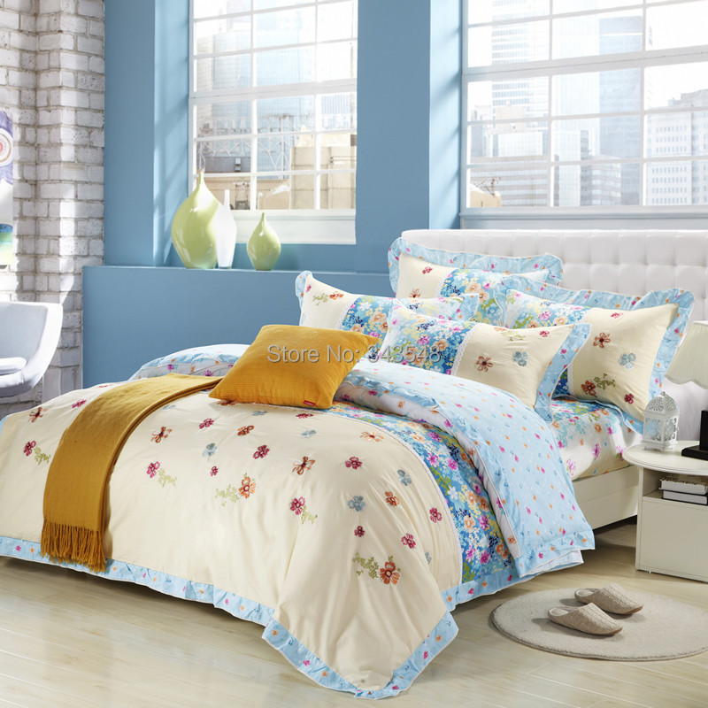 100% Cotton Korean Bedding Set Floral Print and Embroidered Quilt Cover Bed Linen Ruffles Lace Romantic Girls Bedroom Sets Queen(China (Mainland))