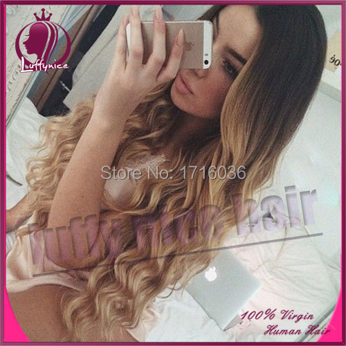 Two tone ombre lace wig 1b/27 full lace ombre human hair wigs brazilian virgin human hair middle part lace front wigs 130density