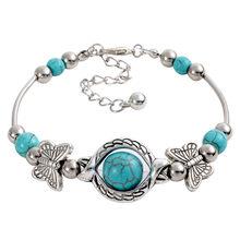 Moda pedra verde pedra pulseiras & pulseira vintage contas borboleta pulseira para mulher prata cor jóias melhor presente para meninas(China)