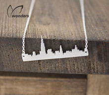 2015 Fashion New York NY City Skyline Necklace Dainty Women Minimalist Jewelry City View Charm Bridesmaid