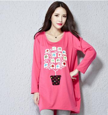 2016 new spring and autumn maternity clothes pregnant women long sleeved shirt fashion large size maternity clothing SZ8351(China (Mainland))