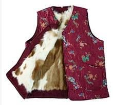 2015 autumn and winter women's genuine fur Wool vest quinquagenarian winter thicken warm fur lining waistcoat plus size 3XL