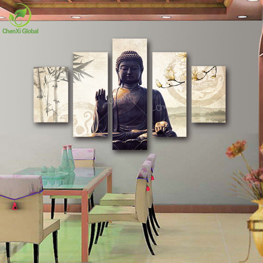 5 Piece Canvas Art Modern Printed Buddha Painting Picture Decoracion Buddha Paintings Wall Canvas Piictures For Living Room(China (Mainland))