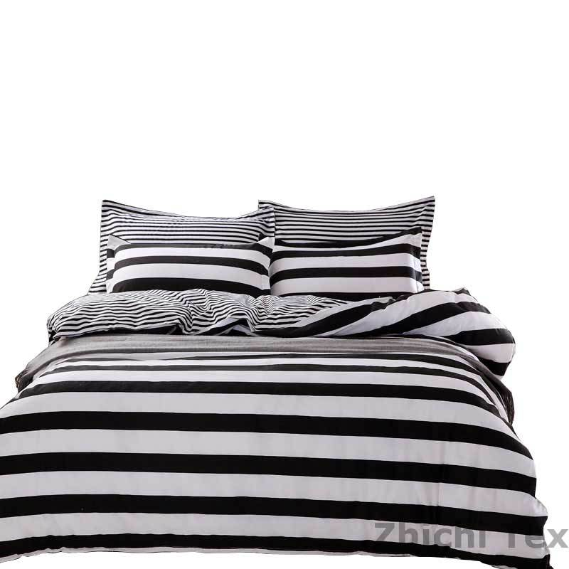 2015 New Ariival Bed Cover Set Black and White Stripes Design 100% Polyester Literie Enfant NCDT-006(China (Mainland))