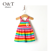 Hot sale Retail Baby Girls Dress Infant Cotton Clothing Sleeveless Printed Embroidery Dress Summer Clothes(China (Mainland))