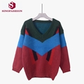SinoFashion Loose Knitted Sweater 2016 Hitz V collar striped Mohair hairy sleeve head sweater backing womens