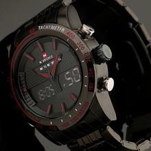 Marca de lujo hombres negros de reloj militar completa de acero inoxidable de lujo Digital Led deportes reloj Relogio Masculino reloj para hombre
