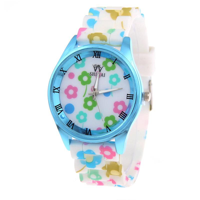 Quartz Casual Watch Silicone Geneva Women Ladies Popular Multicolor Flower Printed Analog Sports Wristwatch - Her jewelry box ( Min. Order $7 store)