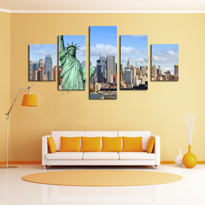 Without Frame 5 Panels Picture New York City Hd Canvas