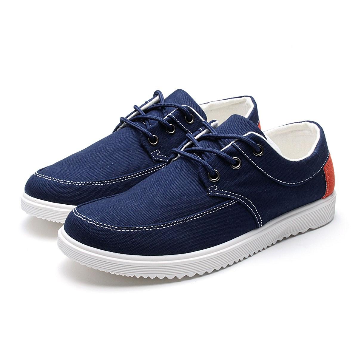 canvas casual flats low top shoes mens flat shoes