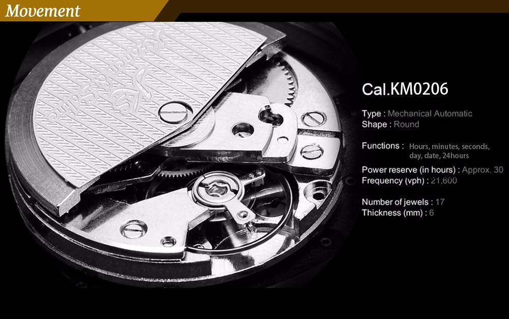 Навигатор KS Классический Автоматическая Золотой Черный Дата День 24 Часов 6 Руки Стальной ленты Механическая Бизнес Мужчины Наручные Часы Подарок/KS225
