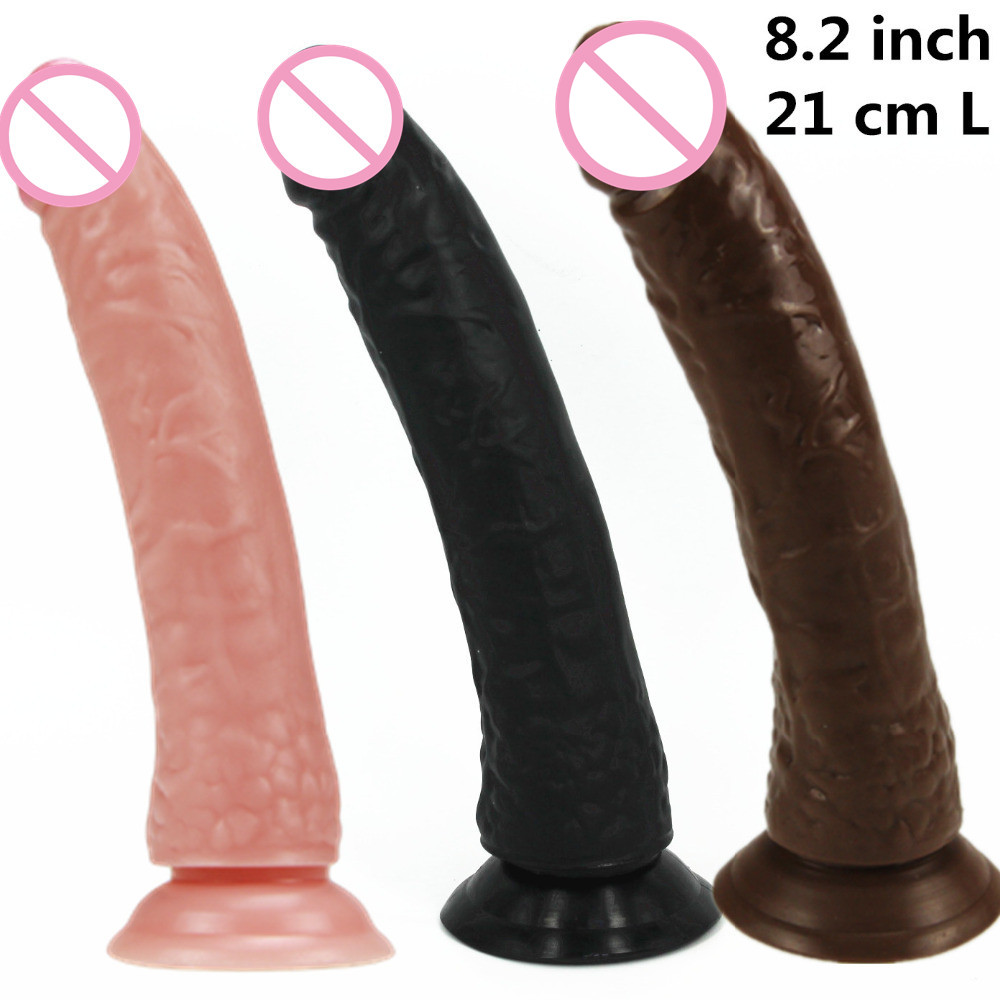 8.2 inch 21 cm long big black /flesh/ brown/pink /purple dildo Dongs,sex dick ,realistic penis,Sex Toys for woman sex products(China (Mainland))