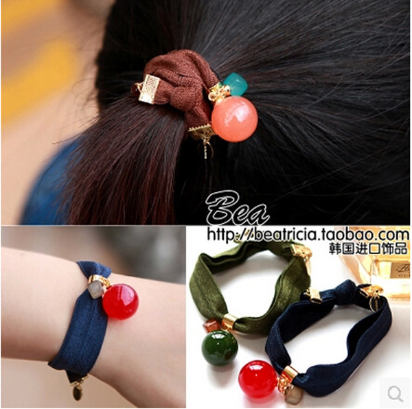 Wholesale Korean hair accessories ball button knotted rubber band candy hair ring knot headwrap women elastic rope 20 pcs/lot(China (Mainland))