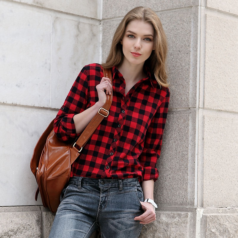 online kaufen gro handel womens red black plaid shirt aus. Black Bedroom Furniture Sets. Home Design Ideas