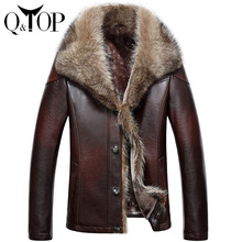 High-end Men's Leather Jacket Raccoon Fur Collar Genuine Leather Coat Jaqueta De Couro Masculina M-4XL For Free Shipping(China (Mainland))