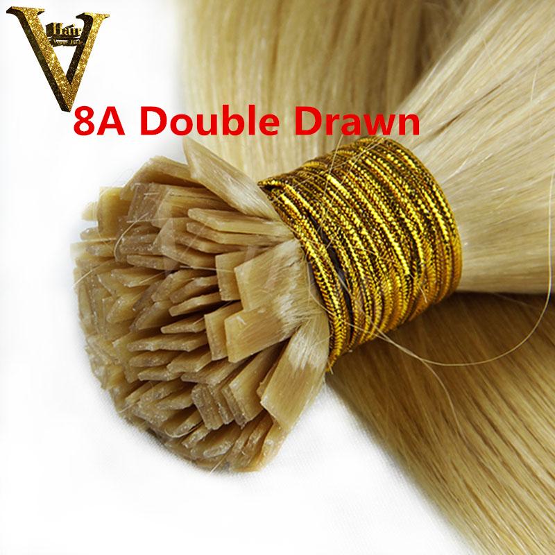 Гаджет  8A Double Drawn Pre Bonded Flat Tip Hair Extensions 1 Gram Strand Remy Human Keratin Hair 50G 100G 150G 200G None Волосы и аксессуары